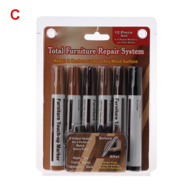 6pcs/1 Set Wood Repair System Kit Filler Sticks Touch Up Marker Floor Furniture Scratch Fix