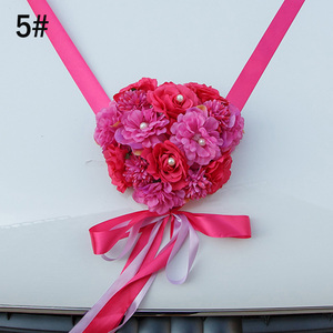 Image 2 - Decoración de coche de boda listón con flores artificiales Bowknot boda decoración del hogar suministros LBShipping