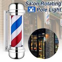 0.5m Barber Shop Pole Rotating Lighting Sign Hair Wall Hanging LED Downlights Red White Blue Stripe Rotating Light Stripes