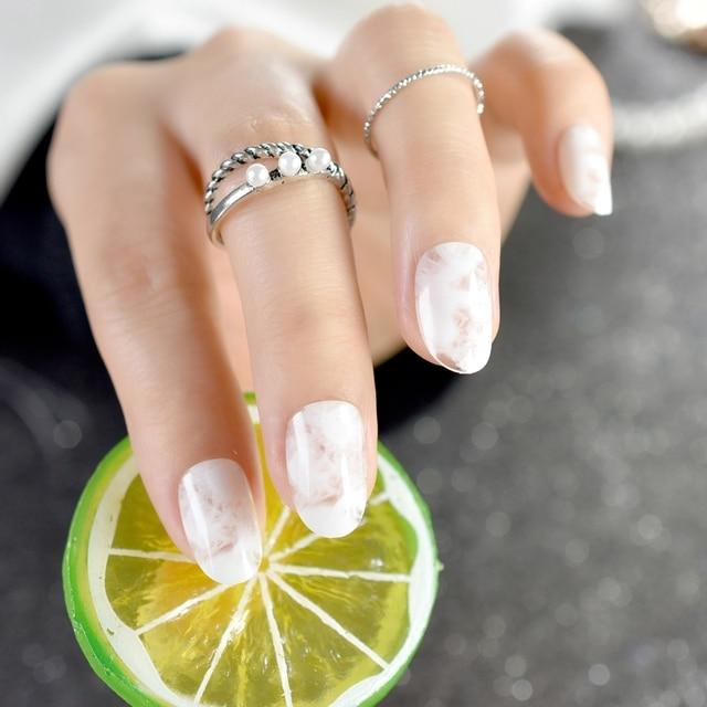 24 stcke gradienten geflschte ngel marmor muster acryl falsche nagel natrliche weie ngel diy nail art - Acrylnagel Muster