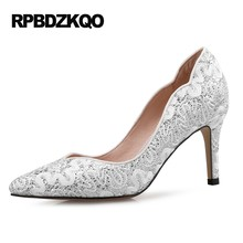 8376fc31ab5d 10 42 11 43 Glitter Dress Size 33 3 Inch 2017 Pumps Lace Pointed Toe Sequin  Red Stiletto Heels Scarpin High Shoes 4 34 White
