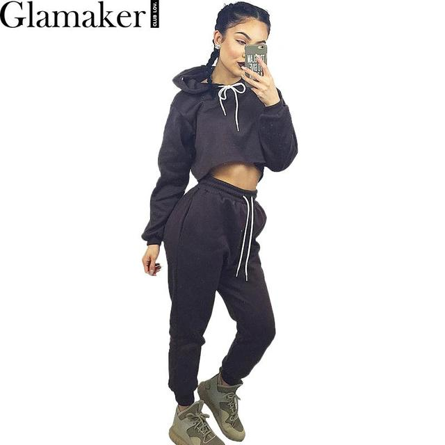 Glamaker 2016 Outono inverno solto elegante jumpsuit romper manga Longa hoodies quentes mulheres two piece outfits Casual macacão cinza
