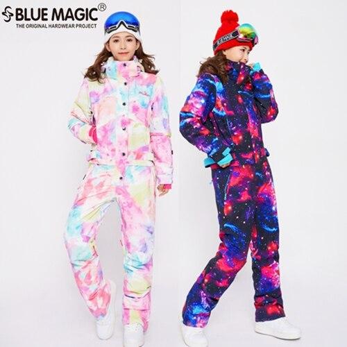 Bleu magique étanche snowboard une pièce ski salopette femmes snowboard-30 degrés neige ski costume vêtements d'hiver combinaison