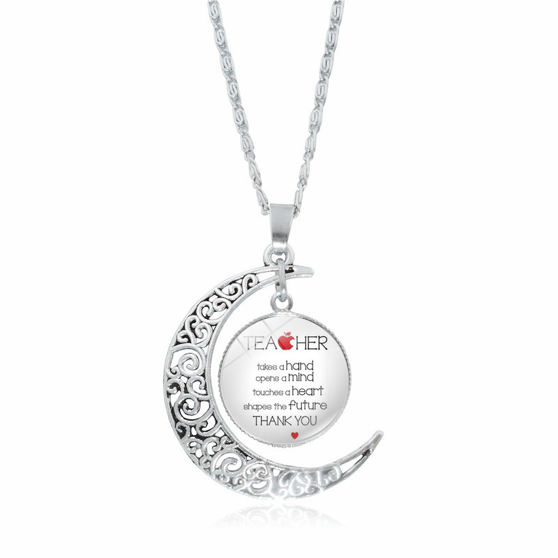 2018 New Silver Crescent Moon Necklace Glass Cabochon Teaching Is A Work of Heart Pendant Necklace Women Teachers Gifts
