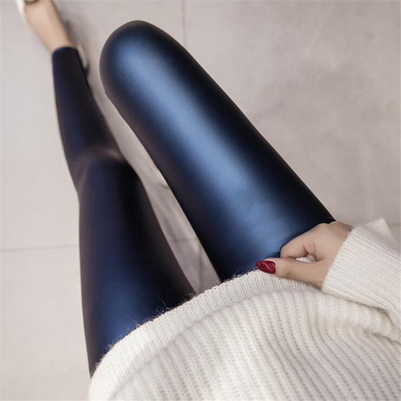 2018 Herbst Pu Faux Leder Leggings Frauen 4 Farben Dünne Hosen Weibliche Koreanische Dünne Damen Fleece Bleistift Leggins S-3xl Zy4315