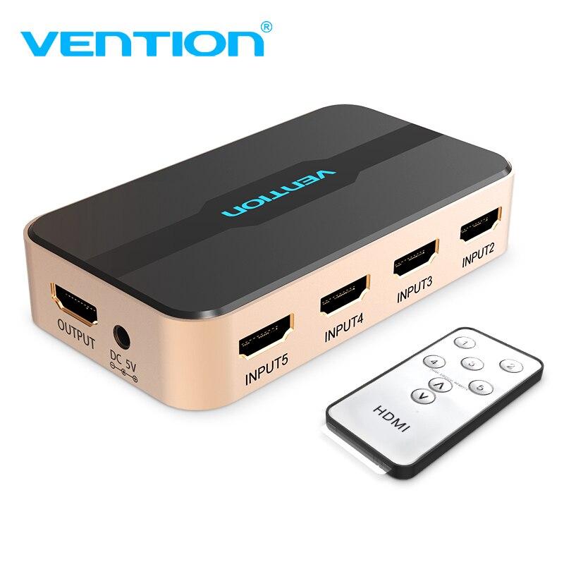 Convenio HDMI interruptor divisor 5 de entrada 1 salida HDMI Switcher 3 entrada 1 salida para XBOX 360 PS4 Smart Android HDTV 4 K HDMI adaptador