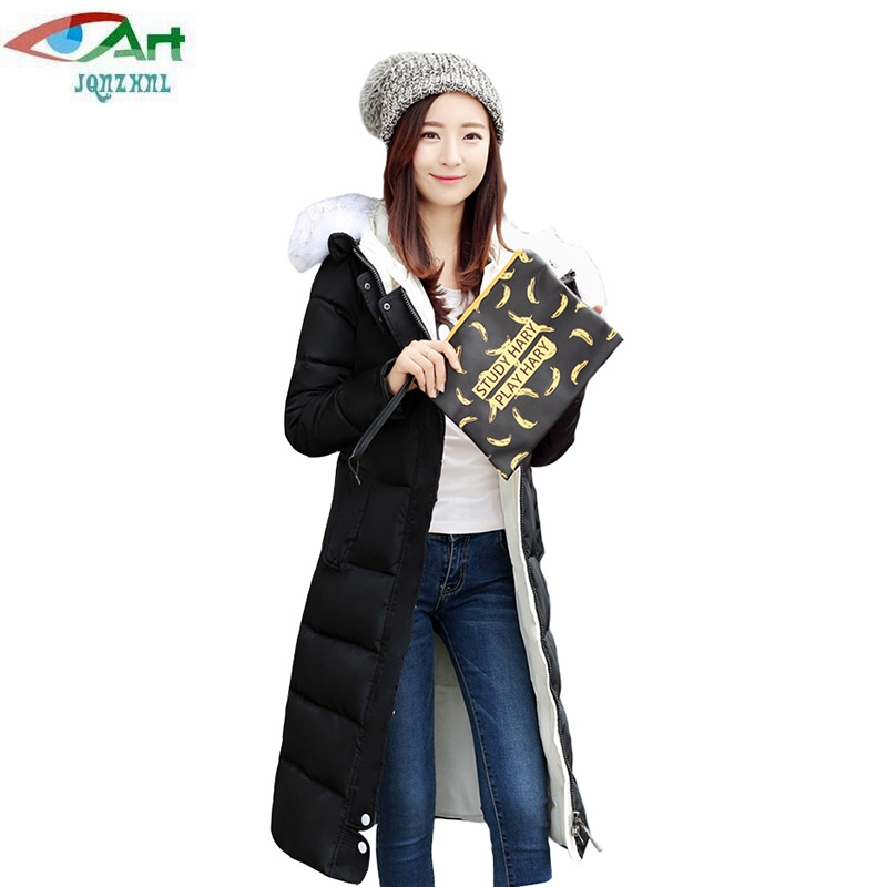 JQNZHNL 2017 New Autumn Winter Women Cotton Paded Coats Plus Size 3XL Women Cotton Jacket Female Hooded Slim Long Warm Coat E171 2016 new fashion autumn winter women basic jacket coat female slim hooded brand cotton coats