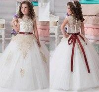 Neue Puffy Weiß Tüll Blumenmädchen Kleid für Hochzeiten Champagne Applique Ballkleid Kleine Mädchen Erstkommunion Kleid Jeder Größe