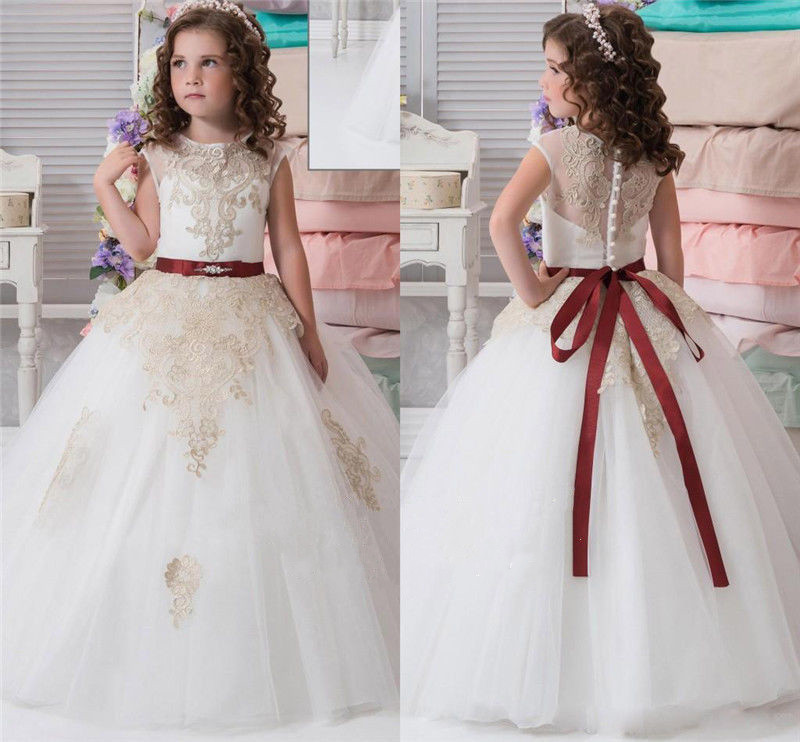 New Puffy White Tulle Flower Girl Dress for Weddings Champagne Applique Ball Gown Little Girls First Communion Dress Any Size