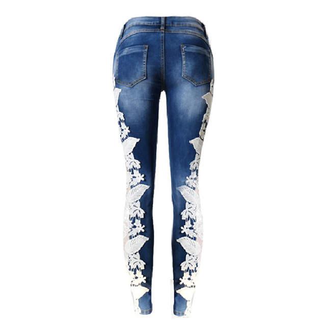 769c97defed Online Shop LALA IKAI Cotton Side Lace Patchwork Jeans Women Low Waist  Pencil Ladies Denim Trousers Washed Dark Blue Girl Pants KWA0587-45
