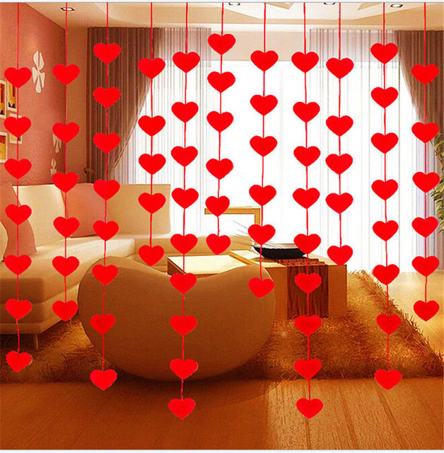 1 Set Wedding Room Decoration Birthday Party Supplies Bunting Home Decor  Red Love Heart Curtain Non