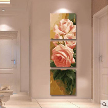 DIY digital painting painting living room decoration triple painting / 50150 fight three vertical version of the rose