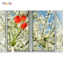 Yeele Out Window Photography Backdrops White Flowers Interior Portrait Scene Photographic Backgrounds For Photos Studio Shoots