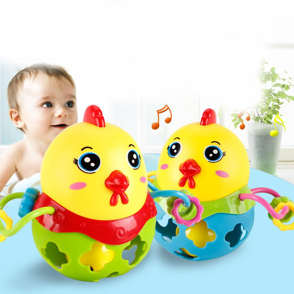 LeadingStar 0-12 Months Baby Toy Baby Ball Rattles Cute Chicken Soft Hand Plastic Hand Bell Rattle