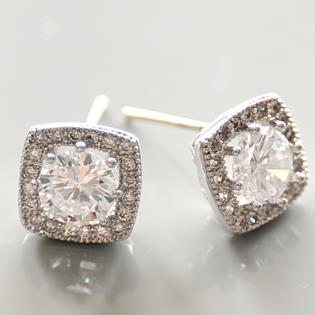 2017 Woman Aaa Cz Diamond Earrings Top Quality Zirconia And Gold Plated Clic Small Square Shape