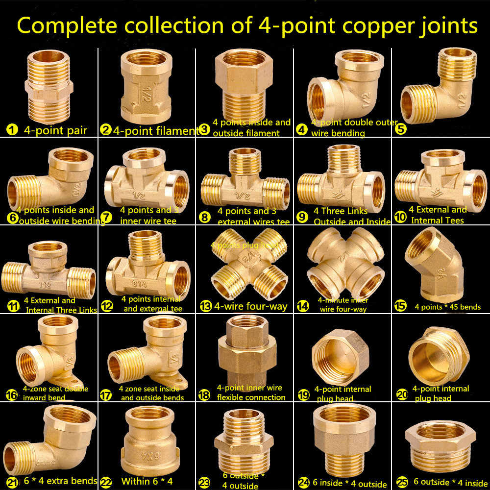 Copper tube internal thread copper hose three-way reverse osmosis copper tube connector water pipe fittings 6 points to 4 points