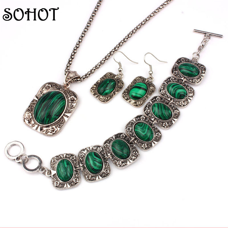 SOHOT Antique Silver Color Jewelry Sets Women Green Malachite Stone Flower Pendant Necklace Bracelet and Earrings classical malachite green round shell simulated pearl abacus crystal 7 rows necklace earrings women ceremony jewelry set b1303