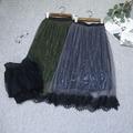 Sección larga de la manera de la red en el encaje de largas faldas de encaje mujeres al por mayor de otoño e invierno que espesan