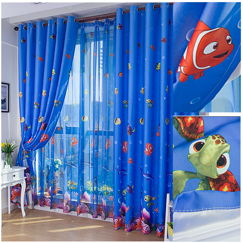 [byetee] Eco Friendly Blue Ocean Sea Fish Child Bedroom Window Curtain  Tulle Sheer