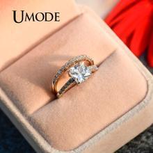 UMODE, модные 1.6ct обручальные кольца, набор для женщин, белое золото, кубический цирконий, обручальное кольцо, роскошные ювелирные изделия UR0139C