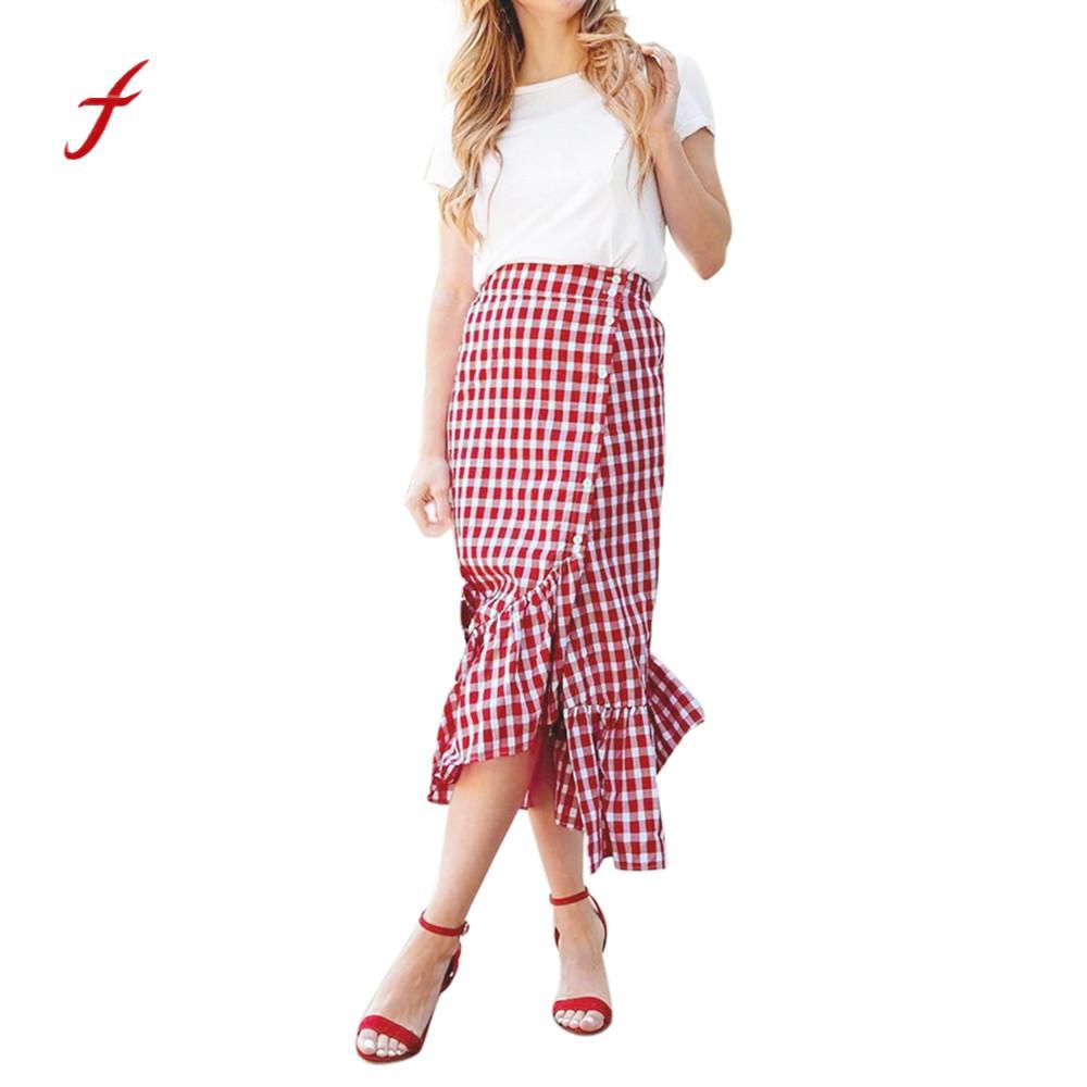 bdb238474 Women Plaid Casual Ruffled Female Button Party Slit High Waist Mid-Calf  Skirt pink slim