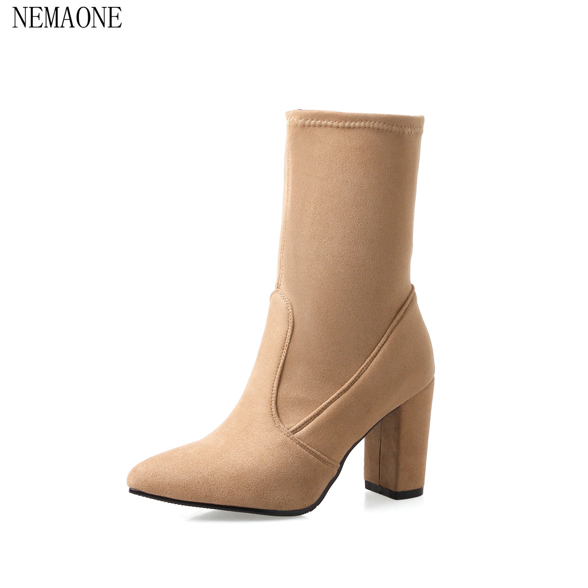 NEMAONE 2018 Women Mid Calf Boots Slip on Pointed Toe Hoof Heels Kid Suede Rubber Soild Winter Women Mid Calf Boots Size 34-43 sweet women s mid calf boots with slip on and suede design