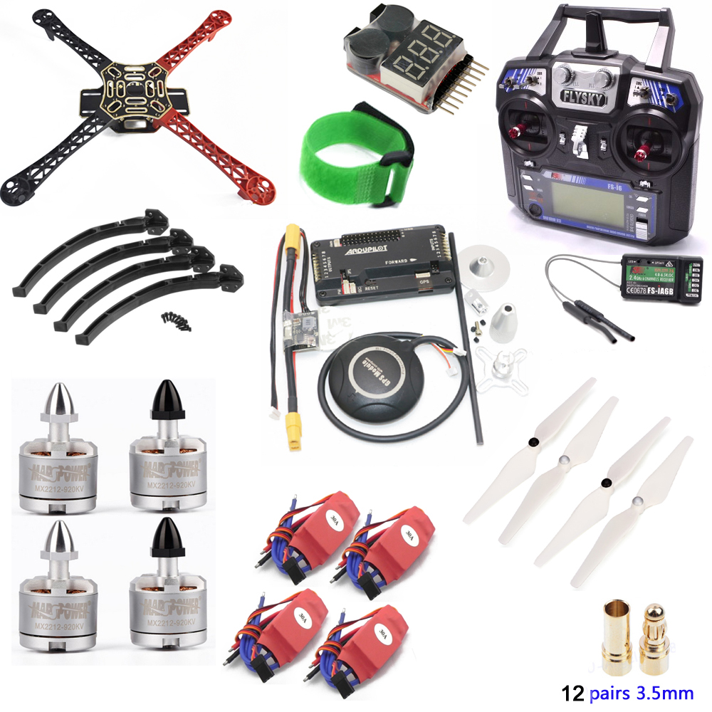 DIY F450 Quadcopter Frame Kit APM2.8 Controller Board 7M GPS 30A Simonk ESC 2212 920kv Motor 9450 Prop Flysky FS-i6 TX Rc 3.5mm