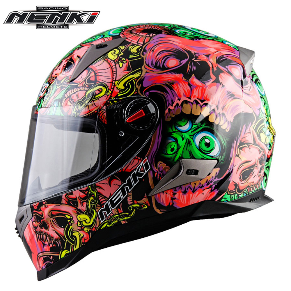 NENKI Motorcycle Helmet Touring Motorbike Helmet Racing Street Moto Casco Men Women Chopper Scooter Cruiser Full Face Helmet ECE 2017 new ece certification ls2 motocross motorcycle helmet ff352 full face motorbike helmets made of abs and pc silver decadent
