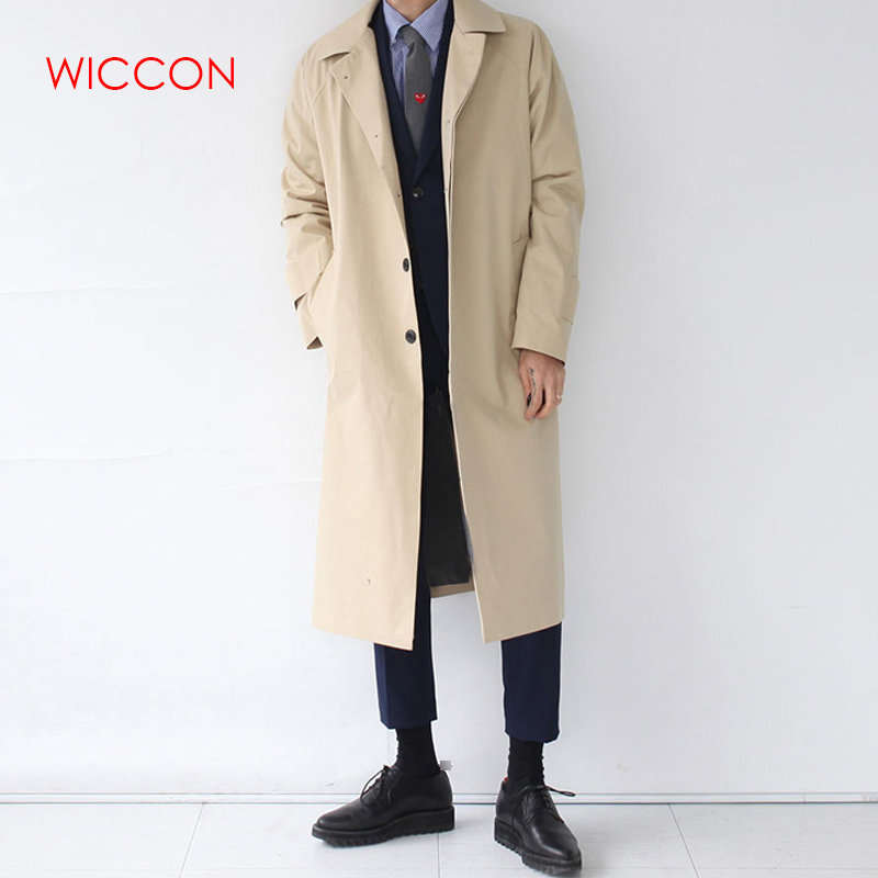 Mens   Trench   Coat 2019 Fashion Long Windbreaker Autumn Winter Single Breasted Windproof Overcoat Plus Size Japanese Style