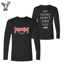 BTS Justin Bieber PurposeTour 2017 New Style Long Sleeve T-shirt Women/Men Spring/Autumn Fashion HipHop Kpop Funny Plus Size 4XL(China)