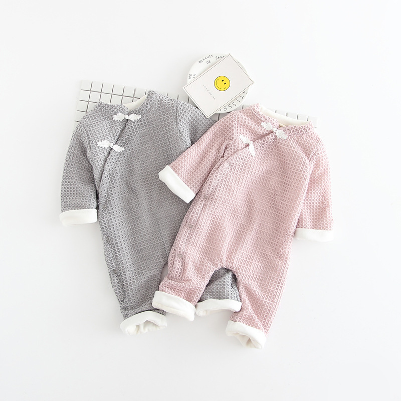 Baby kids Girls Boys Roupas Bebe Clothing Autumn Velvet Winter Rompers Knitwear Knitted Infants Meninas Overalls Jumpsuits S5682 autumn winter baby girls boys kids infants cartoon children thermal velvet jackets cardigan sweaters pants clothing sets s3901