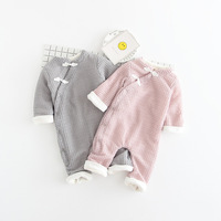 Baby Kids Girls Boys Roupas Bebe Clothing Autumn Velvet Winter Rompers Knitwear Knitted Infants Meninas Overalls