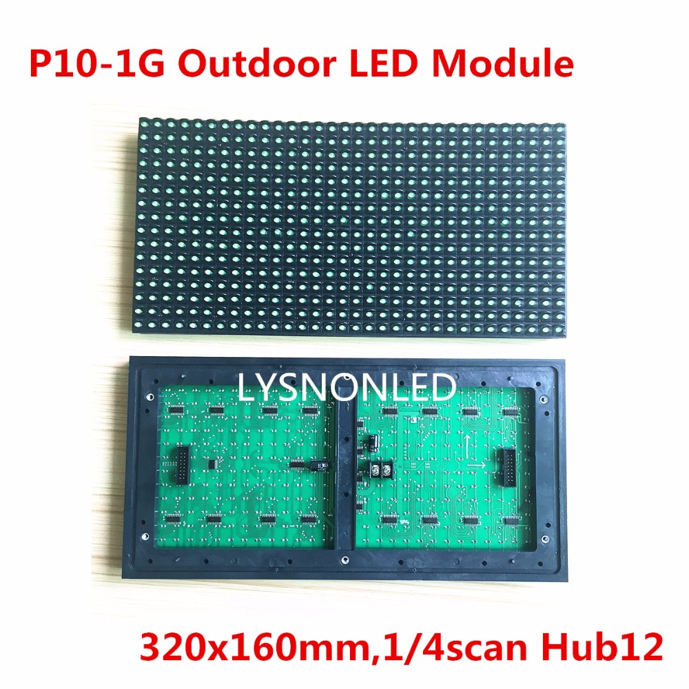 Direct Selling P10 Outdoor Green Color Led Display Module 320x160mm, High Brightness Dip Green P10 Outdoor  LED Panel