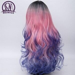 Image 3 - MSIWIGS Peluca de pelo largo con trenzas para mujer, cabello ondulado, trenzado sintético, arcoíris, Morado, azul y rosa