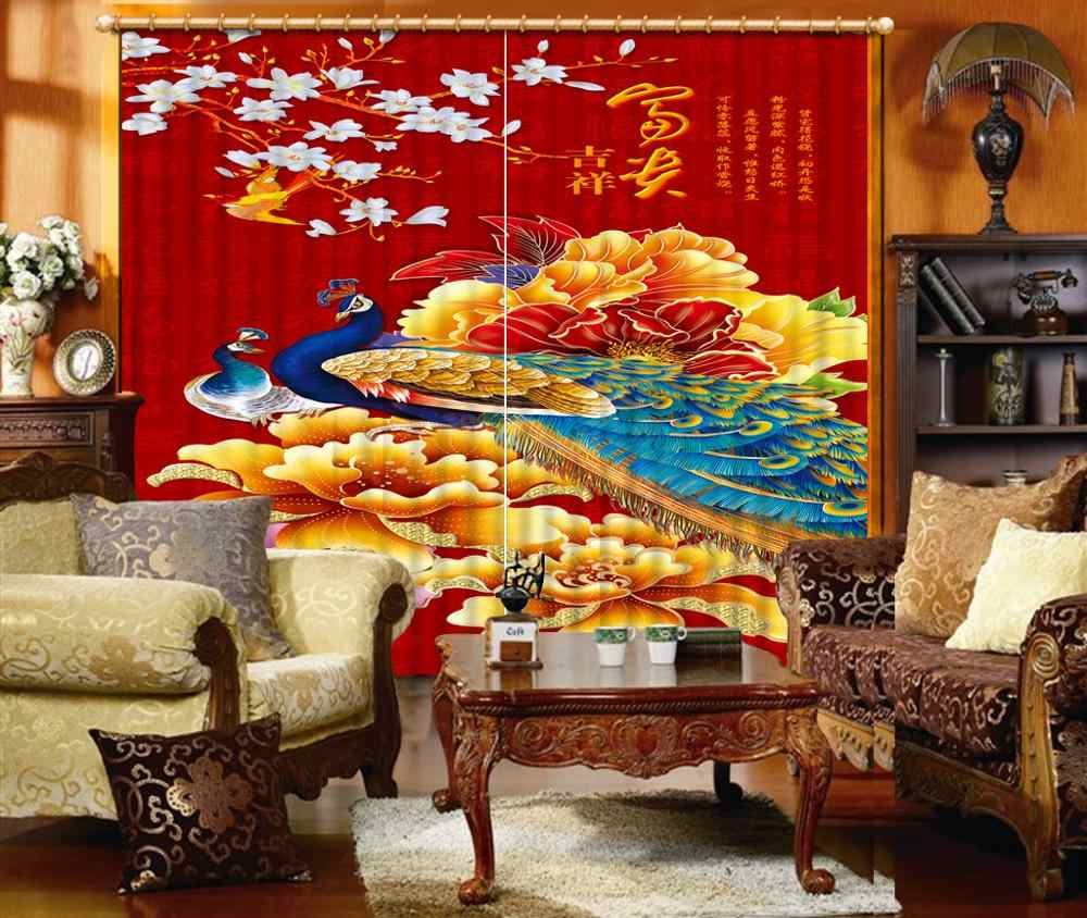 Chinese 3d blackout window curtains for bedroom peacock girls curtains for bedroom photo print curtains