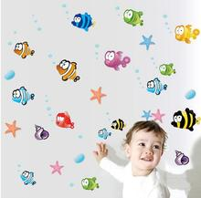 nemo small fish cartoon wall sticker for shower tile stickers in the bathroom for children kids baby bath AY618
