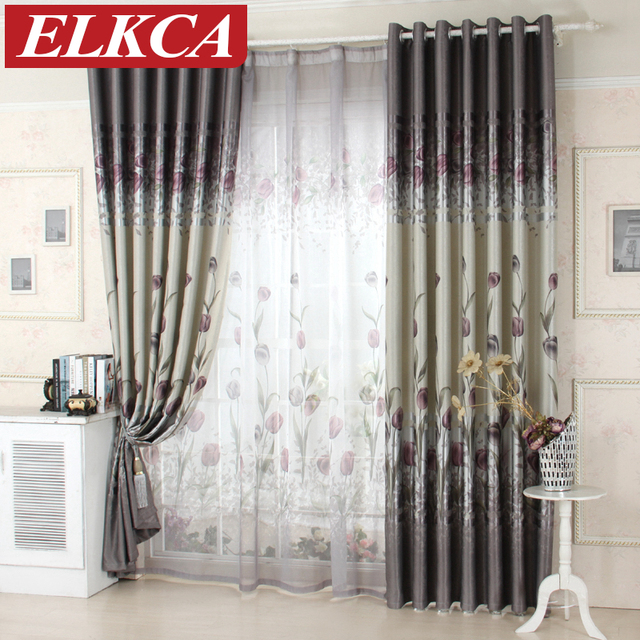 tulip printed window curtain for the bedroom kitchen blackout curtains