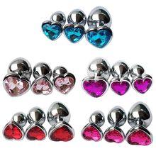 3PCS Anal Beads Crystal Jewelry Heart Butt Plug Stimulator Sex Toys Dildo Stainless Steel Anal Plug