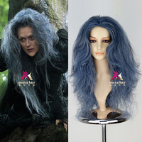Hot Into the Woods Witch Dark Blue Mix Cosplay Wig Women Newest Cos Wigs +Wig Cap