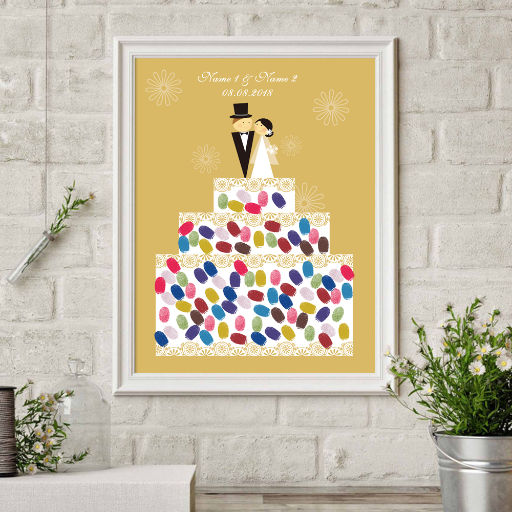 Bride Groom Wedding Cake,Canvas Fingerprint Signature Guest Book For ...