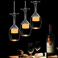 3Wx3 LED Lights Cup Wineglass Modern Pendant Light Lamp for Living Room Bar Saloon Dining Room Free Shipping