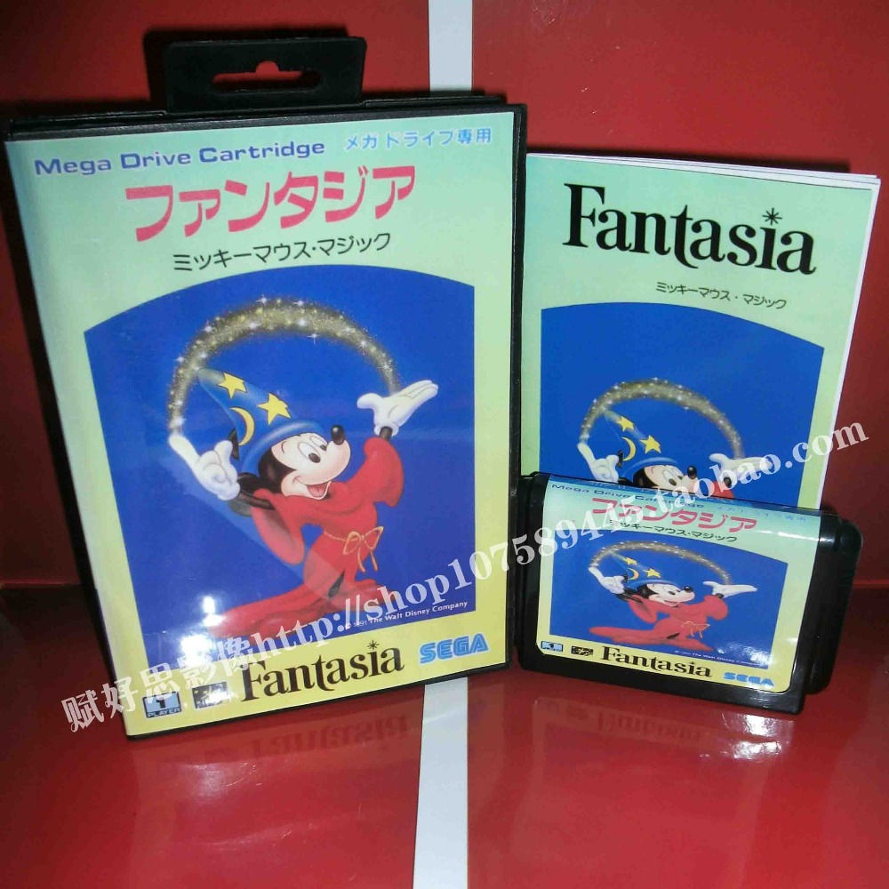 Sega MD game - Fantasia with Box and Manual for 16 bit Sega MD game Cartridge Megadrive Genesis system