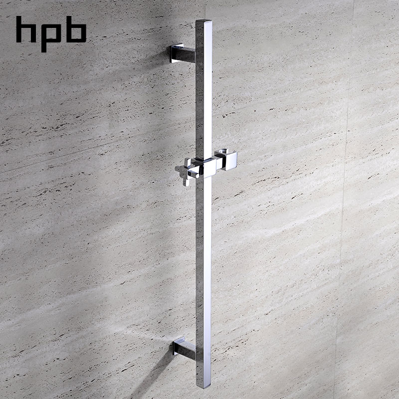 HPB Brass Square Chrome Polished Shower Slide Bars Shower Head Lifting Wall Mounted Bathroom Accessories Pipe Connector HP7502 rectangle single glass shelf brass wall mounted luxury modern polished chrome shower shampoo bathroom holder bathroom hardware