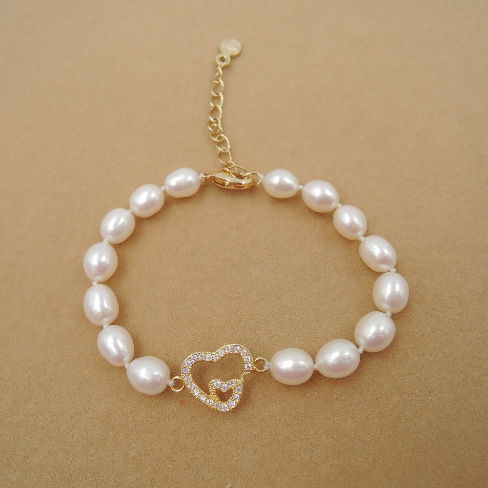 100% NATURE FRESHWATER PEARL Bracelet-AAAAA high good quality-FASHION BRACELET with heart accessory