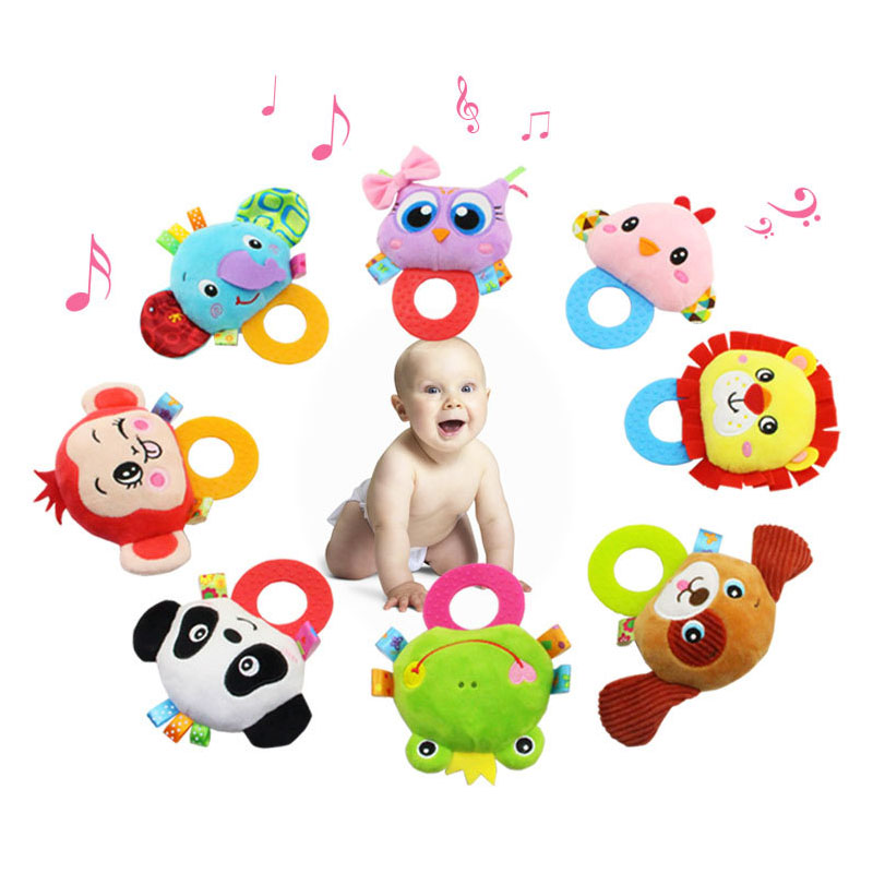 Newborn Toys Infant Hand Grasping Silicone Teether Rubber Rattle Doll BB 0-12 Month Plush Stuffed Educational Toy