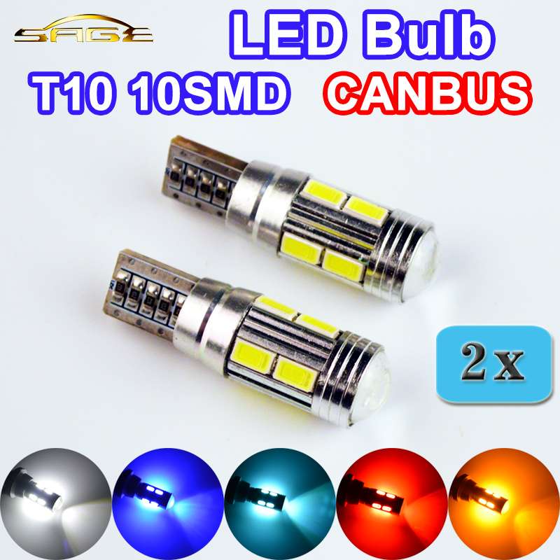 flytop 2 x W5W 10SMD CANBUS T10 5630 SMD 194 LED Car Bulbs Error Free CAN BUS Auto Lights White Blue Crystal Blue Yellow Red high t10 canbus 10pcs t10 w5w 194 168 5630 10 smd can bus error free 10 led interior led lights white 6000k canbus 300lm