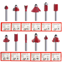 12pcs Mini 6.35mm red color Shank Woodworking Milling Cutter Engraving Machine Wood Milling Trimming Special Tool
