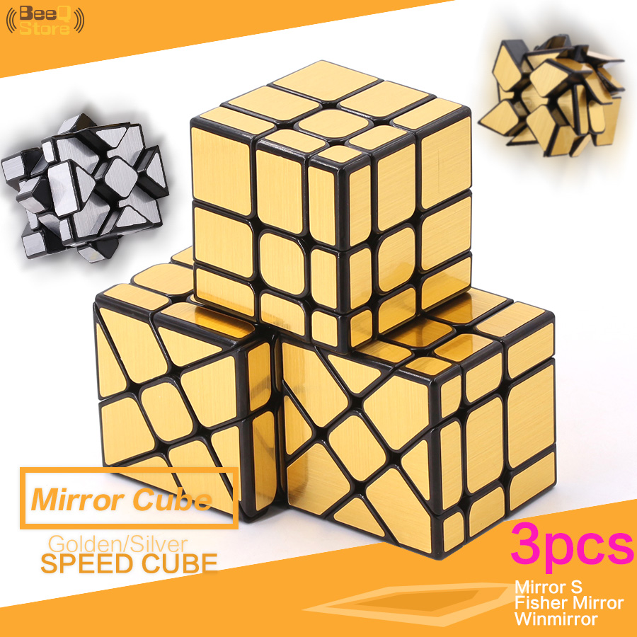 Mofangjiaoshi Fisher Mirror Windmirror MirrorS Magic Cube Golden Silver Brushed Hot Wheel Mirror Cube 3x3x3 Strange Shape Gifts