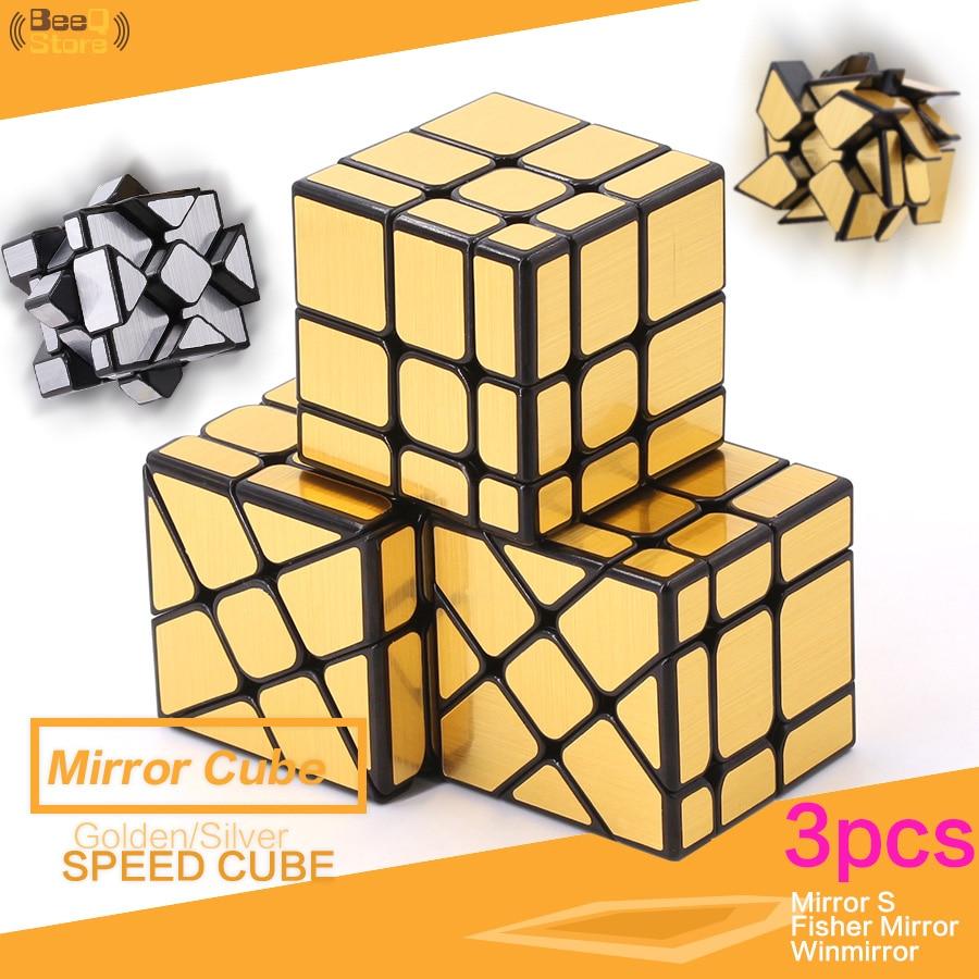 Mofangjiaoshi Fisher Mirror Windmirror MirrorS Magic Cube Golden Silver Brushed Hot Wheel Mirror Cube 3x3x3 Strange Shape Gifts