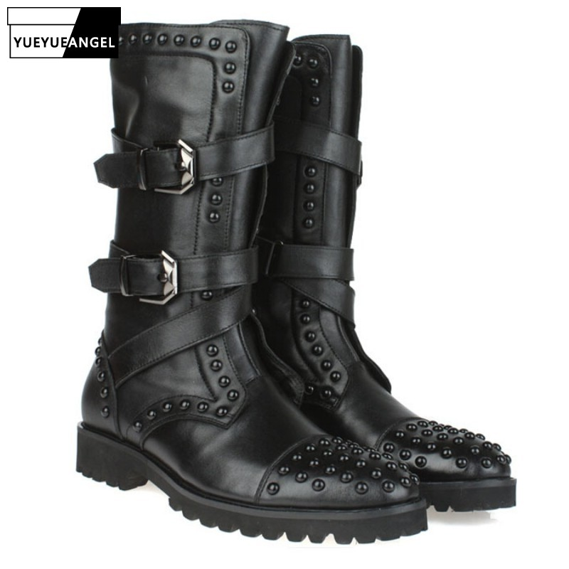 New Korean Fashion Punk Style Men Cowboy Boots Buckle Zipper Round Toe Riding High Boot Brand Luxury Genuine Leather Black ShoesNew Korean Fashion Punk Style Men Cowboy Boots Buckle Zipper Round Toe Riding High Boot Brand Luxury Genuine Leather Black Shoes